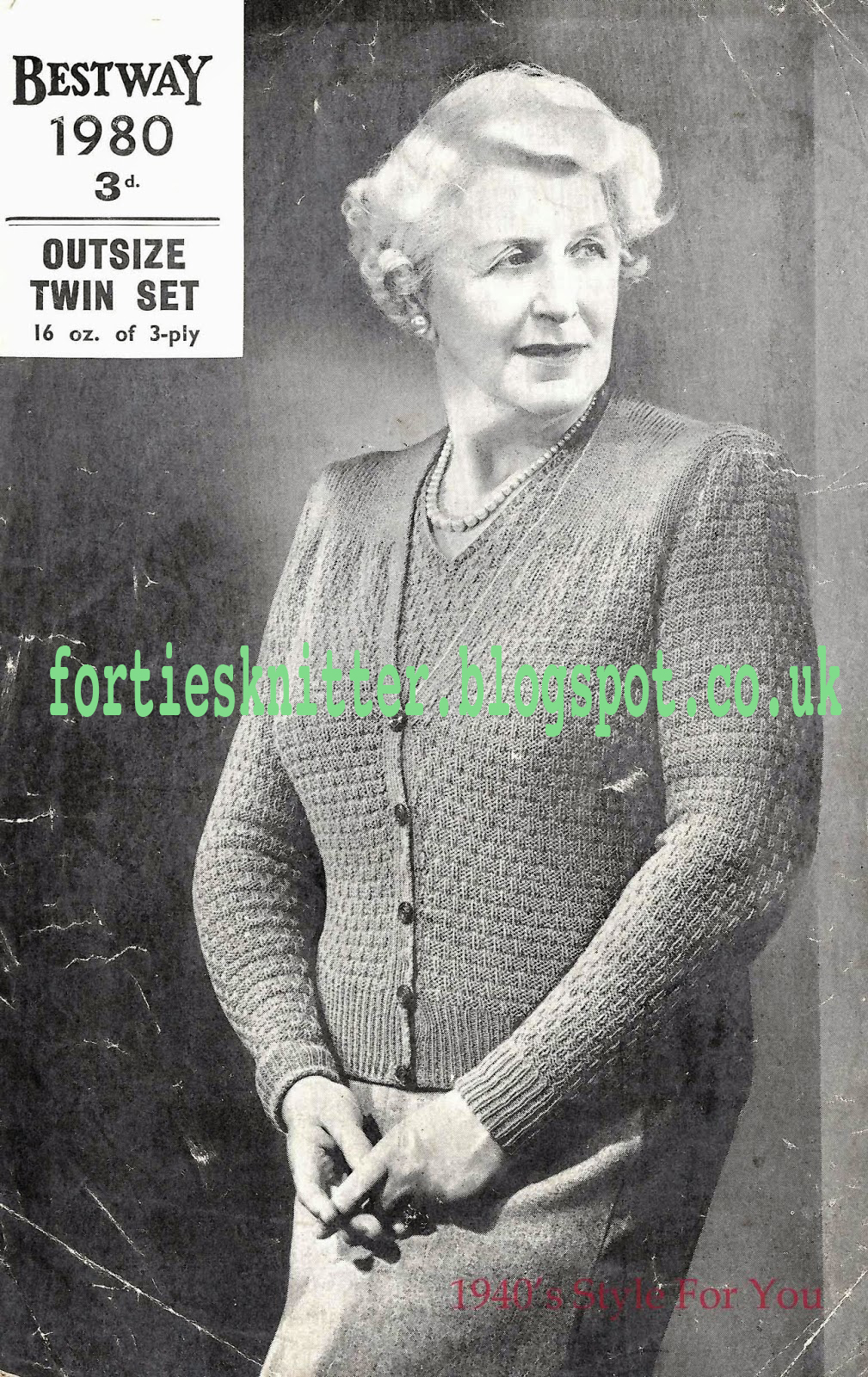 1940's Knitting - Bestway No.1980 A Twinset in a large size free pattern