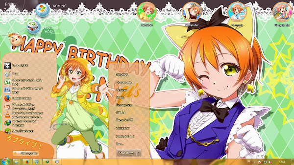 [Theme Win 7] Love Live! School Idol Project – Hoshizora Rin By Kanza 1