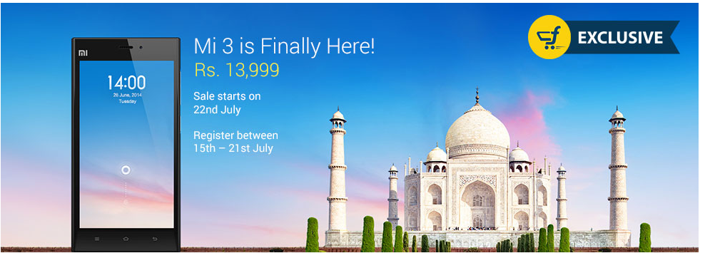 Xiaomi Mi 3 available on Flipkart at 13,999
