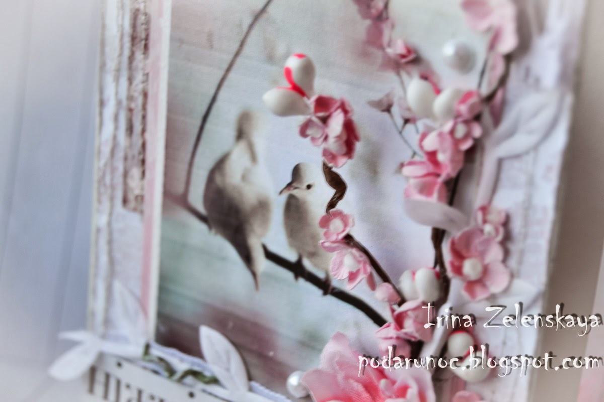 открытка ручной работы цветы сакура