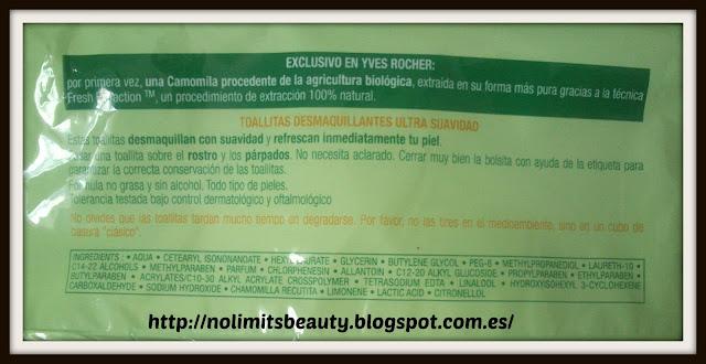 Ingredientes de las toallitas desmaquillantes Pure Calmille de Yves Rocher