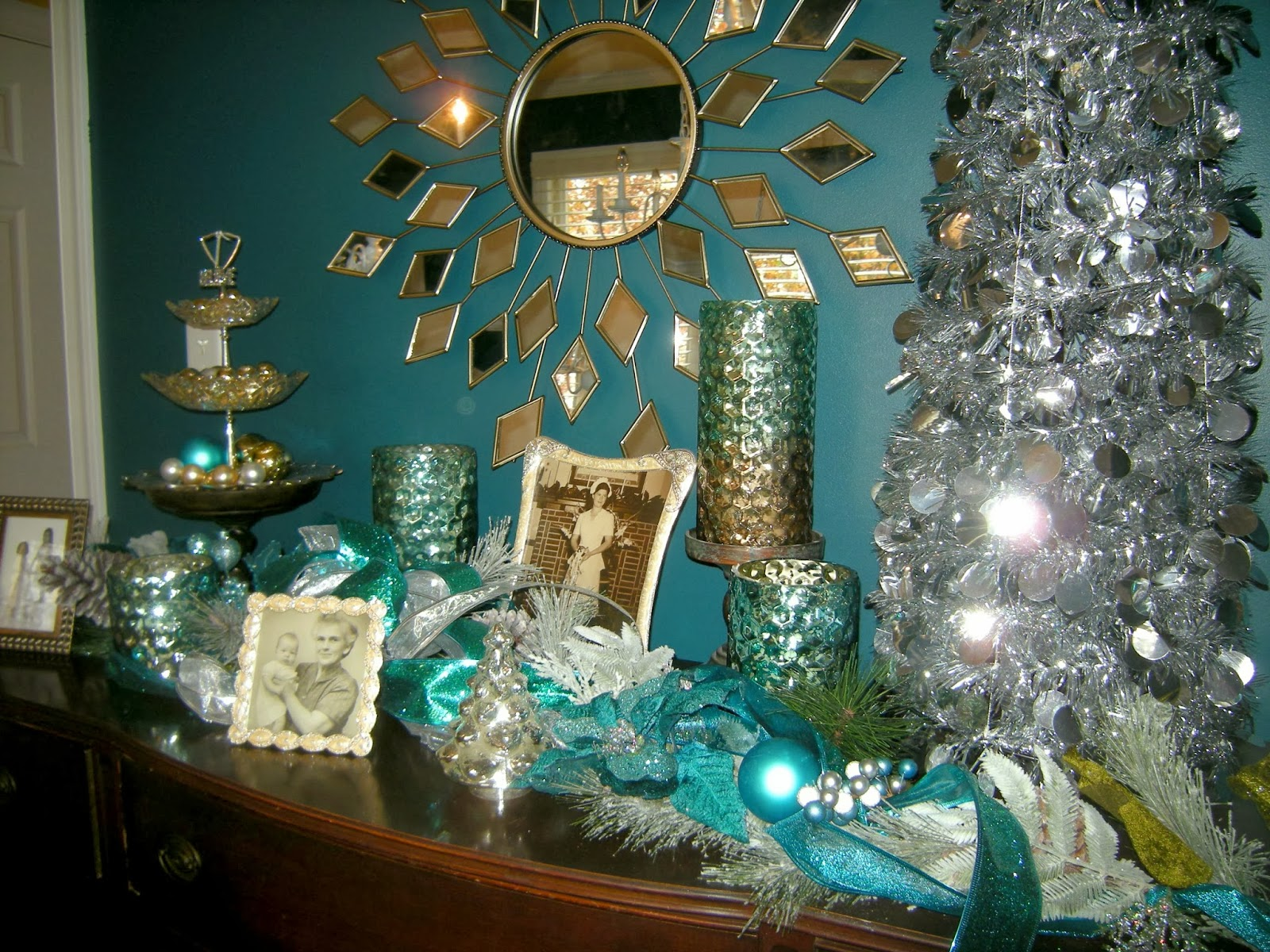 teal silver christmas decorations teal garland flocked garland - Teal And Silver Christmas Decorations