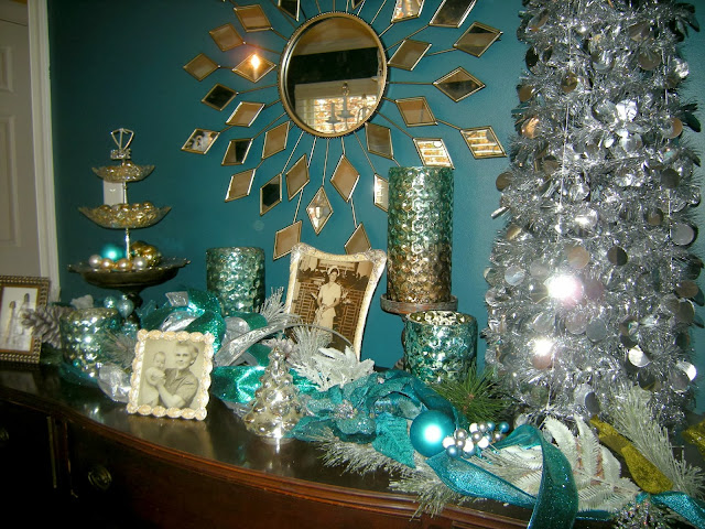 teal-silver-christmas-decorations, teal-garland, flocked-garland