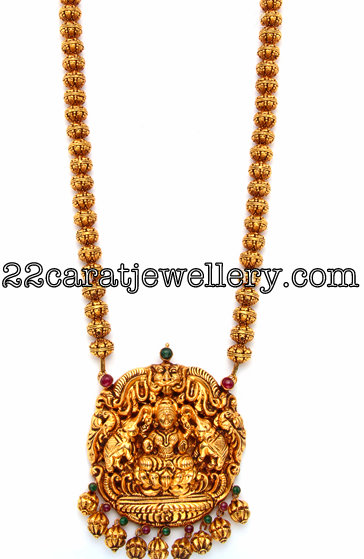 Gold Beaded Laxmi Long Chain Jewellery Designs