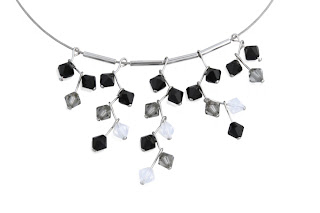 Multiple crystal bead pendants on silver neck wire with spacers