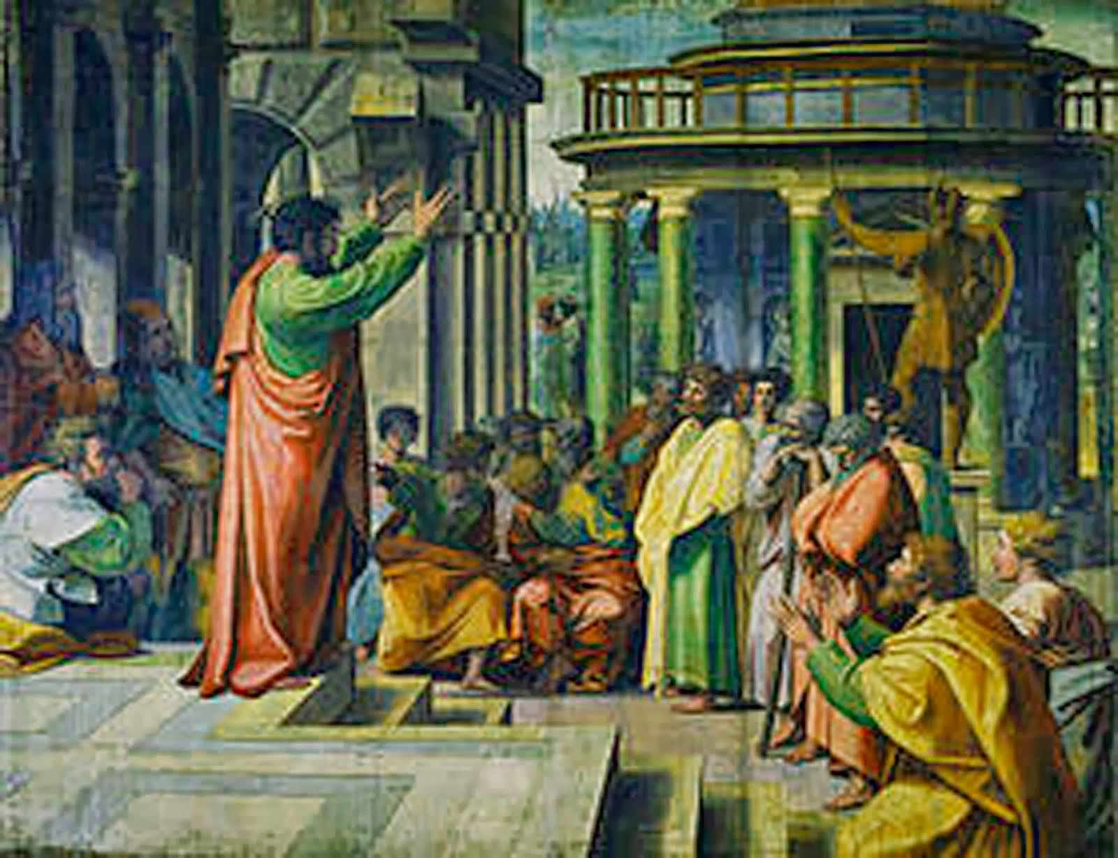 Paul lecturing at Plato's academy