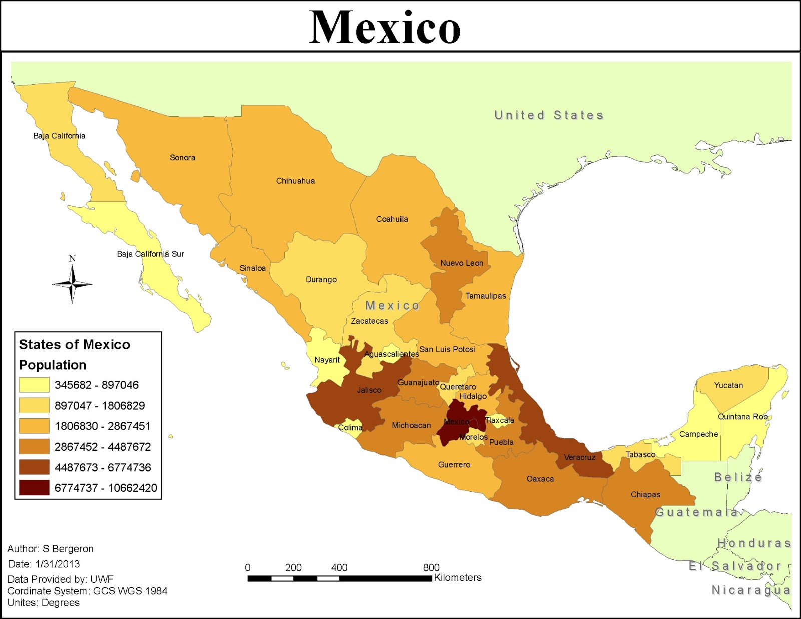 the first map i created shows mexico s population per state to make this map we created a new layer by singling out the mexican states