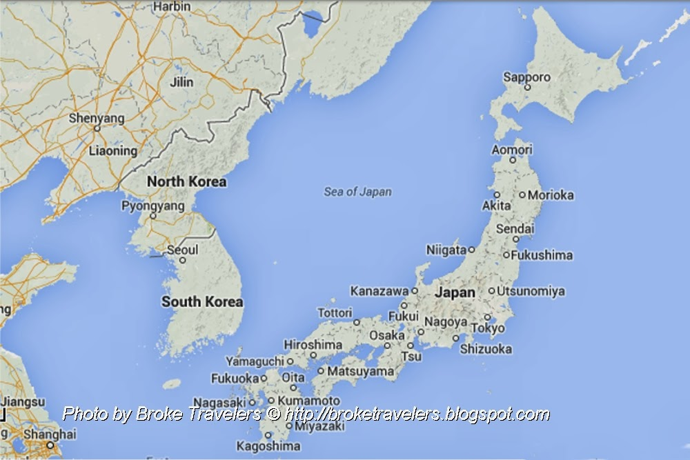 Broke Travelers Japan Or Korea - Japan map korea