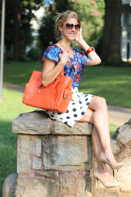 Ann Roth Shoes ODBF Tote, J. Crew Big Shot Dot Skirt, Anthropologie Shirt, Steve Madden Nude Pumps, Blinde Sunglasses
