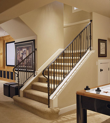 New home interior design basement stairway ideas for Basement step ideas
