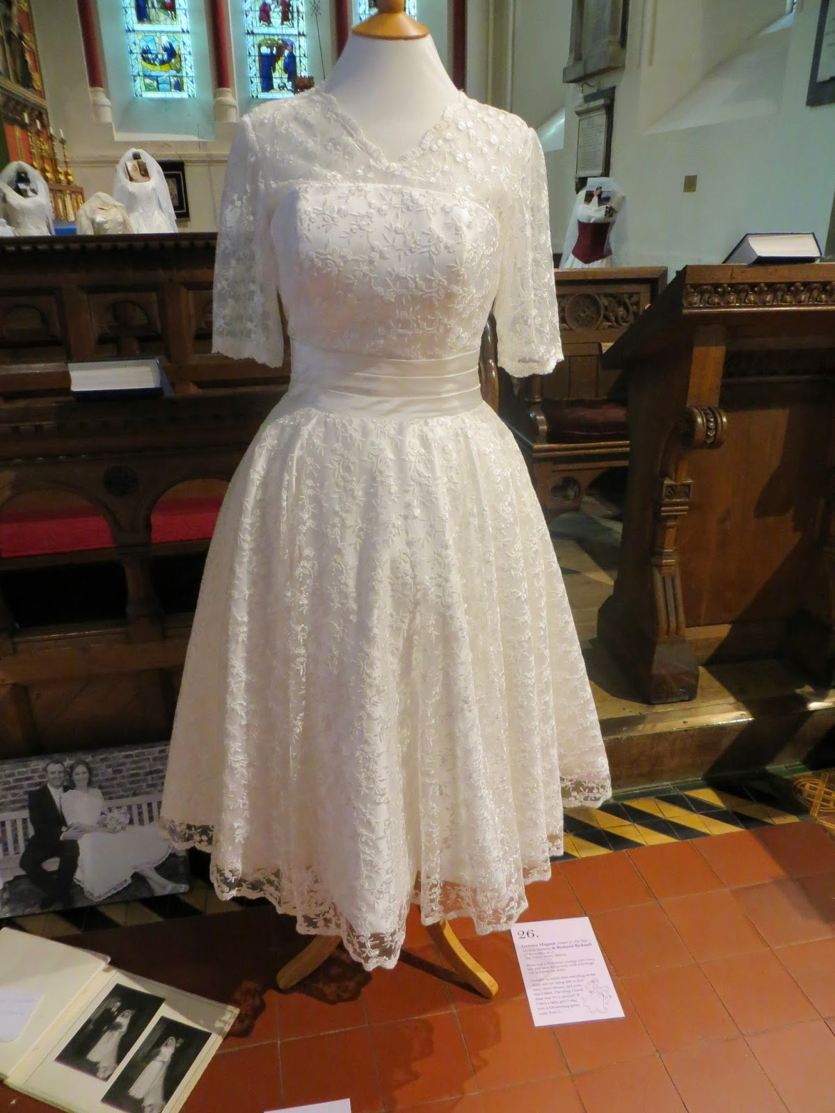 This Is A Beautiful 50s Short Vintage Style Lace And Satin Dress It Was Worn With Birdcage Veil Peep Toe Shoes Belongs To Gemma Bicknall Who