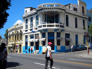 Santiago de Cuba blue and white corner building