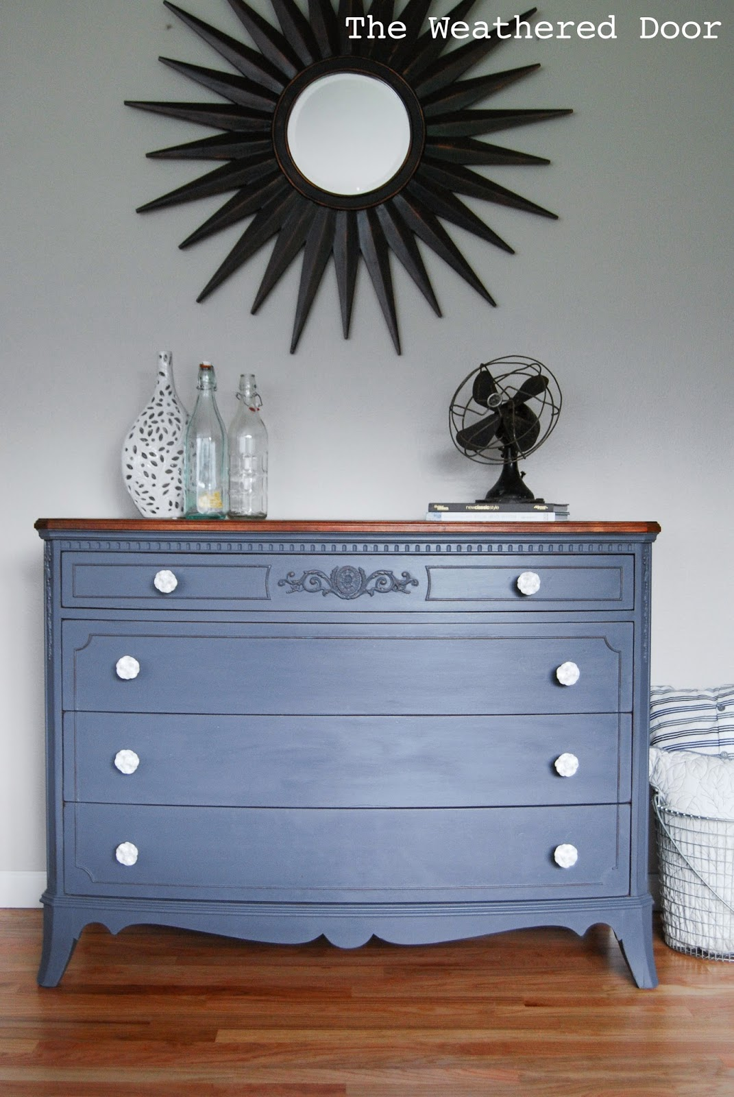 A French Grey Dresser With Wood Top