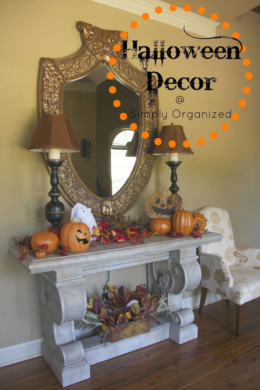 Simply organized halloween decor inside home tour for Halloween home decorations