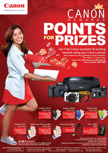 Canon Rewards: Points for Prizes until June 30, 2015