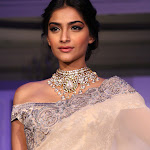 Sonam Kapoor Looks Absolutely Gorgeous In Saree At The India Gem and Jewelery Fashion week 2013