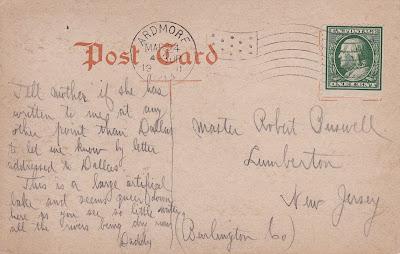 Ardmore City Lake Vintage Postcard 1911 (Back View)