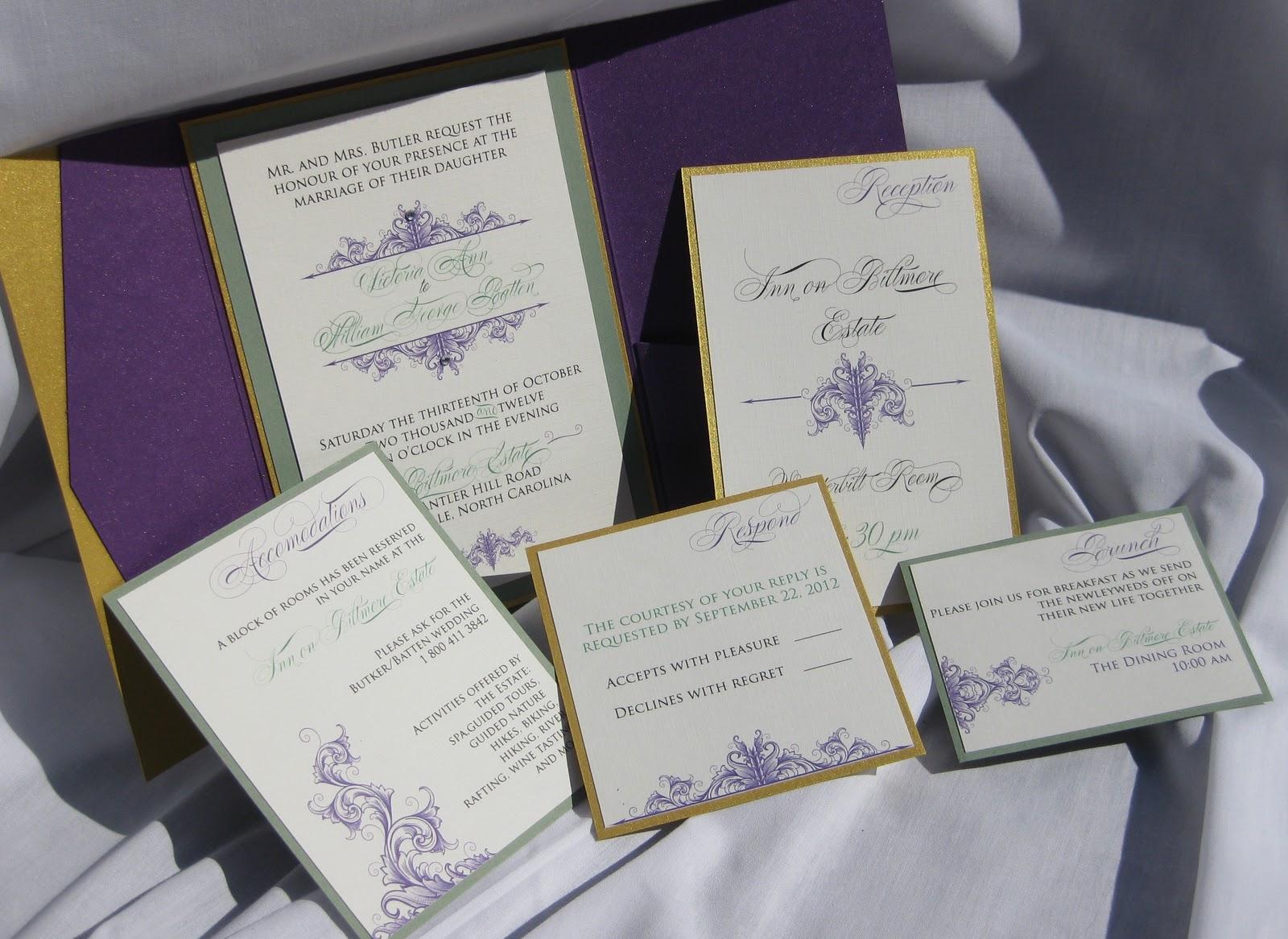 A Biltmore Wedding invitation suite   Izzy Designs, LLC