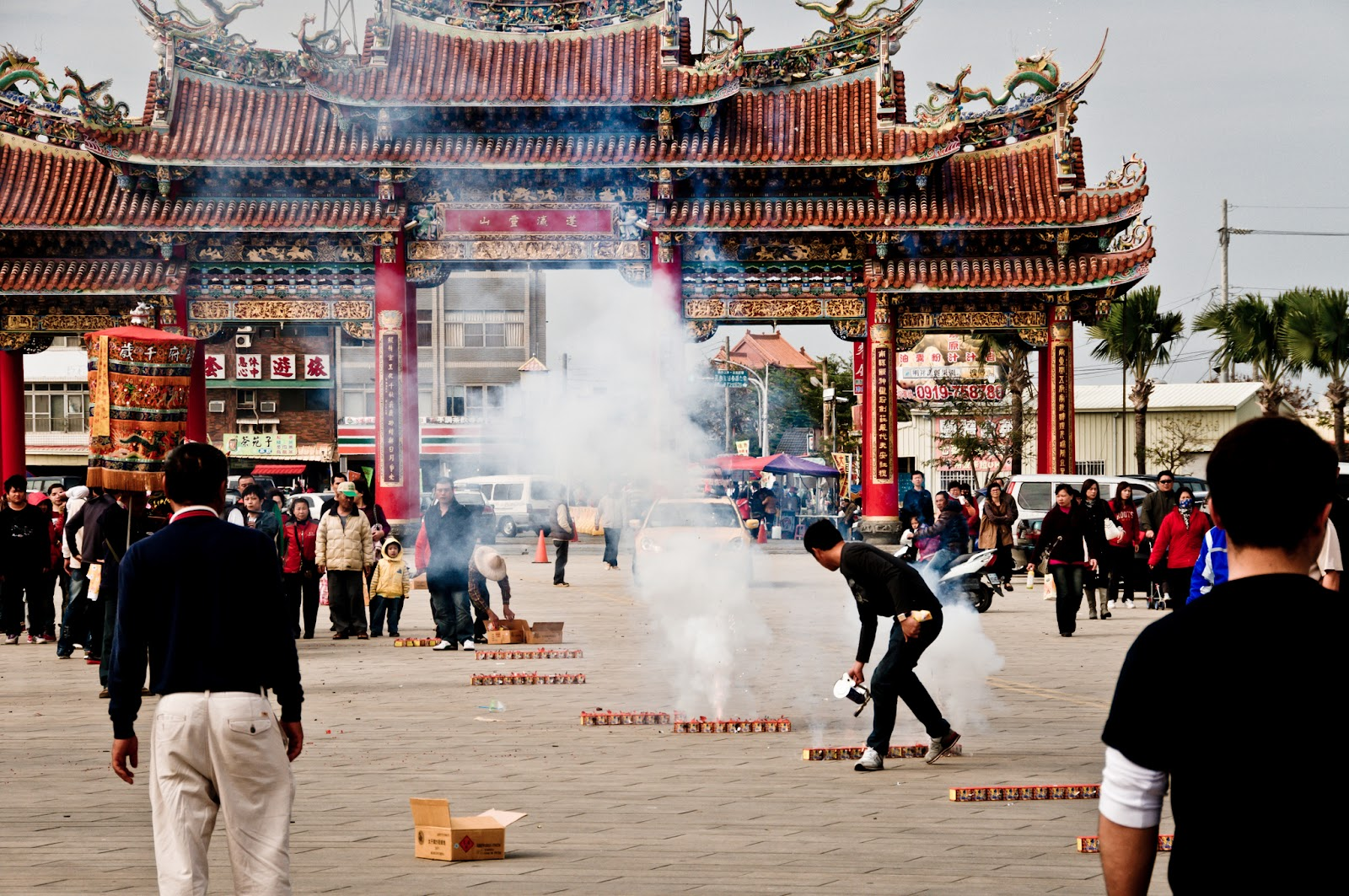 Fire Crackers outside the Taitan Temple of Nan Kun Shen