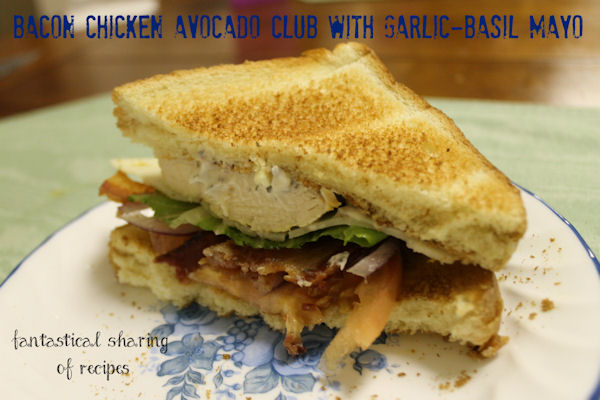 Bacon Chicken Avocado Club Sandwich with Garlic-Basil Mayo: crunchy bacon, lemon pepper chicken, creamy avocado, herby mayo, and more on this amazing club sandwich!