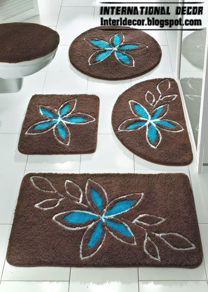 Brown Bathroom Carpet With Turquoise Flower, Brown Baths Rug