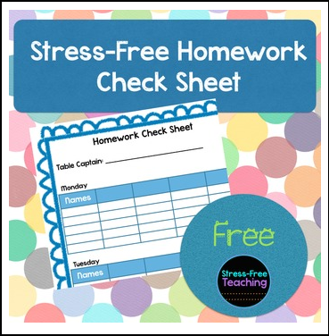 weekly homework check off sheet
