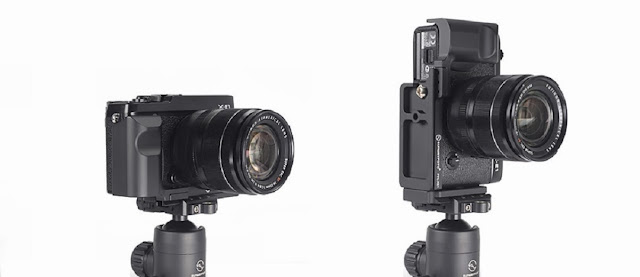 Sunwayfoto CFL-XE1 on Fujifilm X-E1 landscape and portrait positions