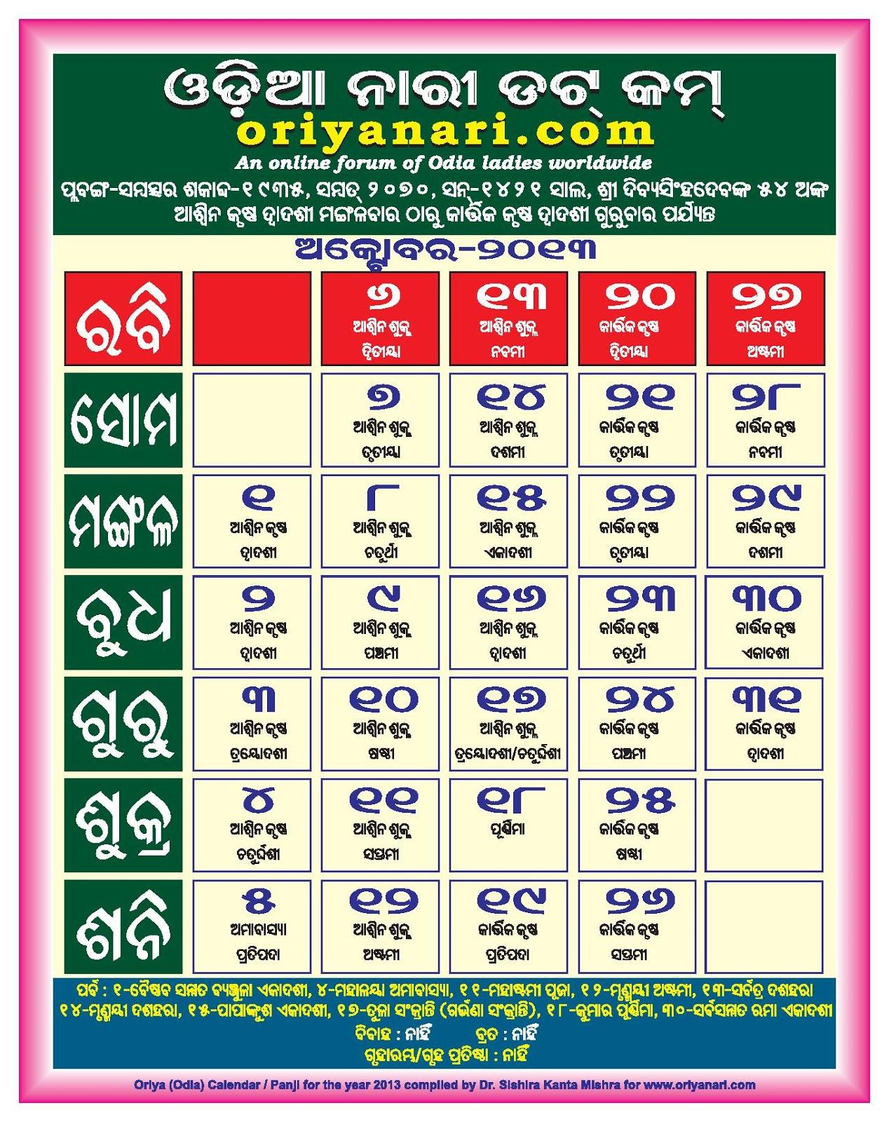Odia Calendar 2017 | Odia Panjika 2017 | Odia Rasifala 2017
