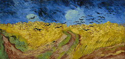 A wheatfield with crows.