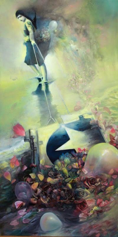 CT Nelson pinturas surreais sombrias quase abstratas