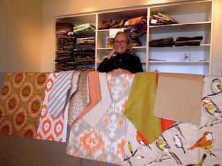 orange, blue, fabrics