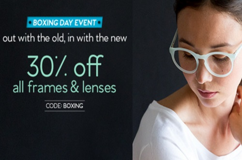 Clearly Boxing Day 30% Off Frames & Lenses Promo Code
