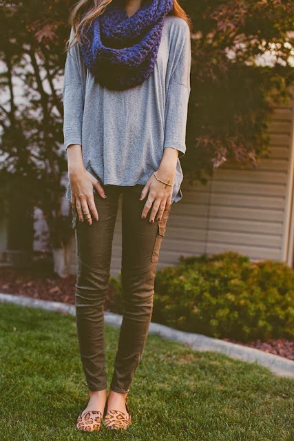 Cool Black Color Scarf,Grey Shirt And Coffee Color Jeans