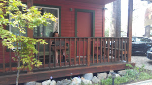A writer at work on the front porch