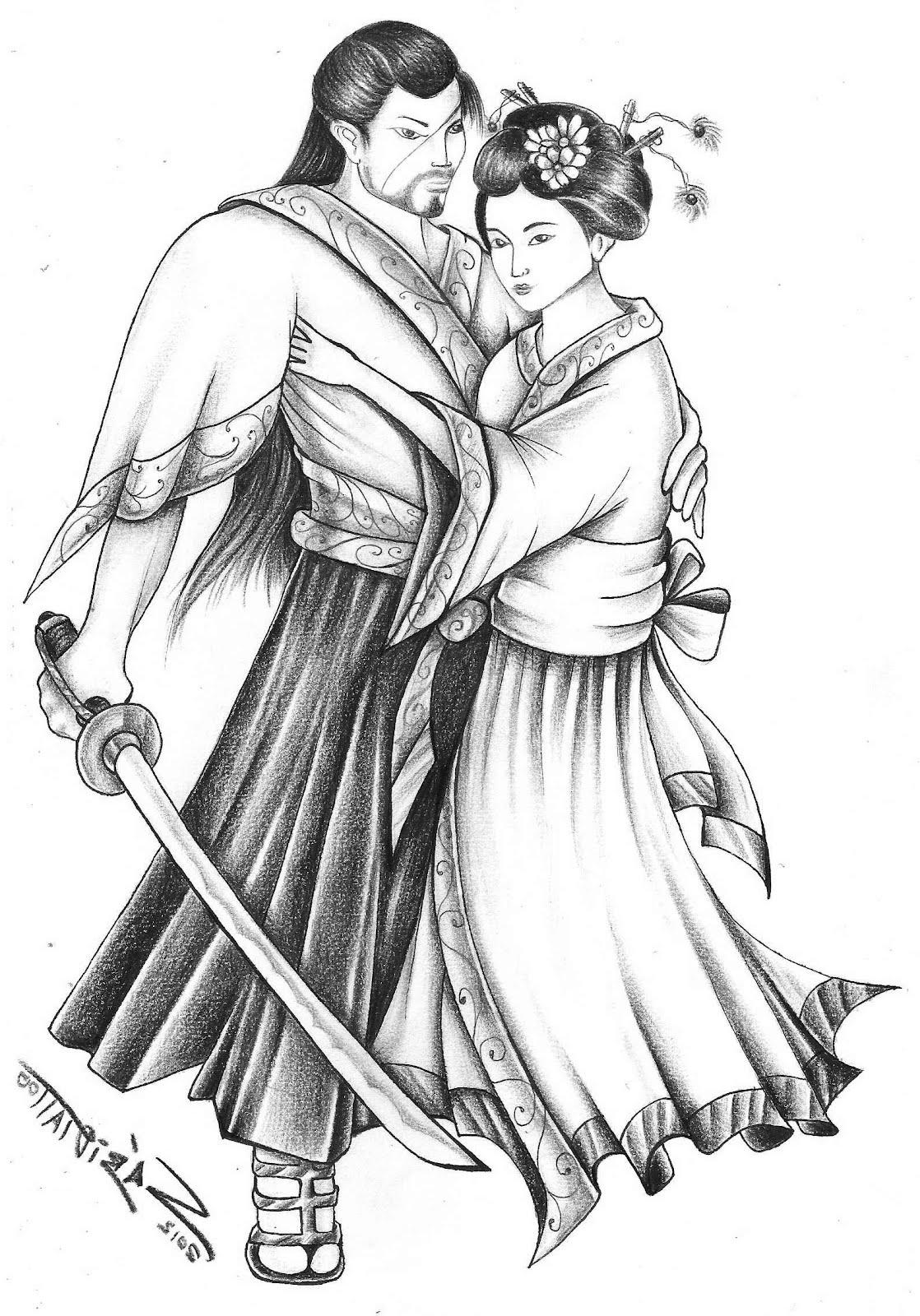 desenho de samurai bom gueixa