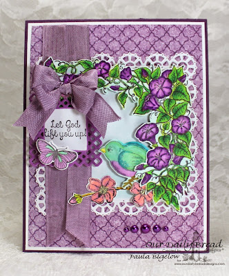 Our Daily Bread Designs, Spread your Wings, Butterfly & Bugs, Glory, Sing to the Lord, Birds and Nest die, Butterfly & Bugs Die, Layered Lacey Squares Die, Christian Faith Collection Paper, Designed by Paula Bigelow
