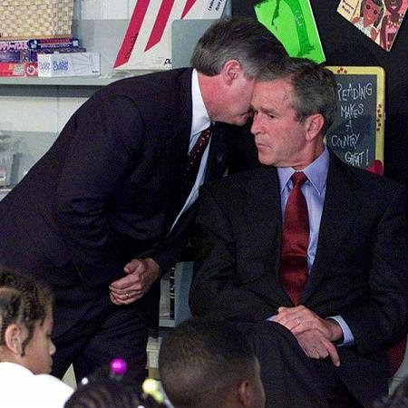 Geoge Bush was notified of the attack on the Twin Towers