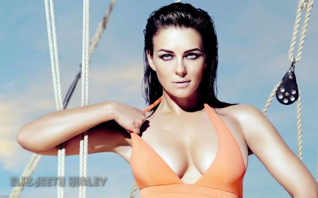 Elizabeth Hurley Sexy with orange bikinni