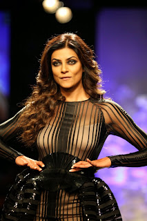 Sushmita Sen Walks Ramp Lakme Fashion Week Winter Fest 2014 Transparent Black Gown Skin Colored Inner