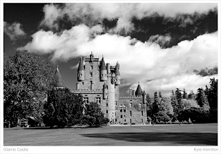 Angus Kirriemuir castle queen mother residence black white Hamilton Kerr grounds Scotland