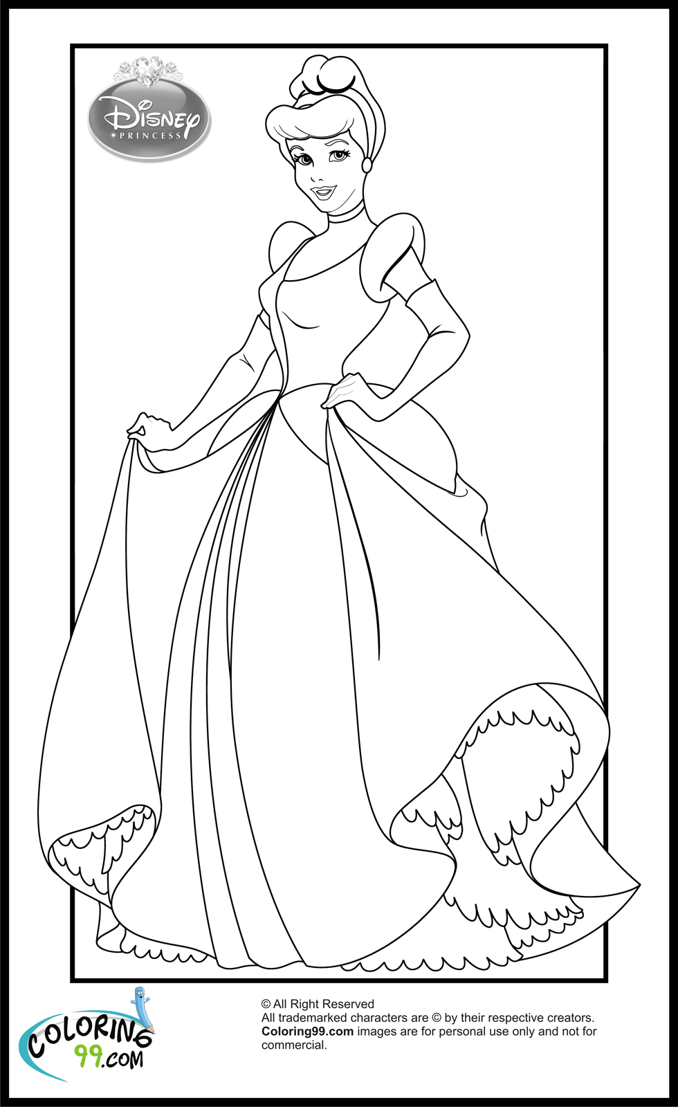 Disney princess cinderella coloring pages team colors for Cinderella coloring pages online