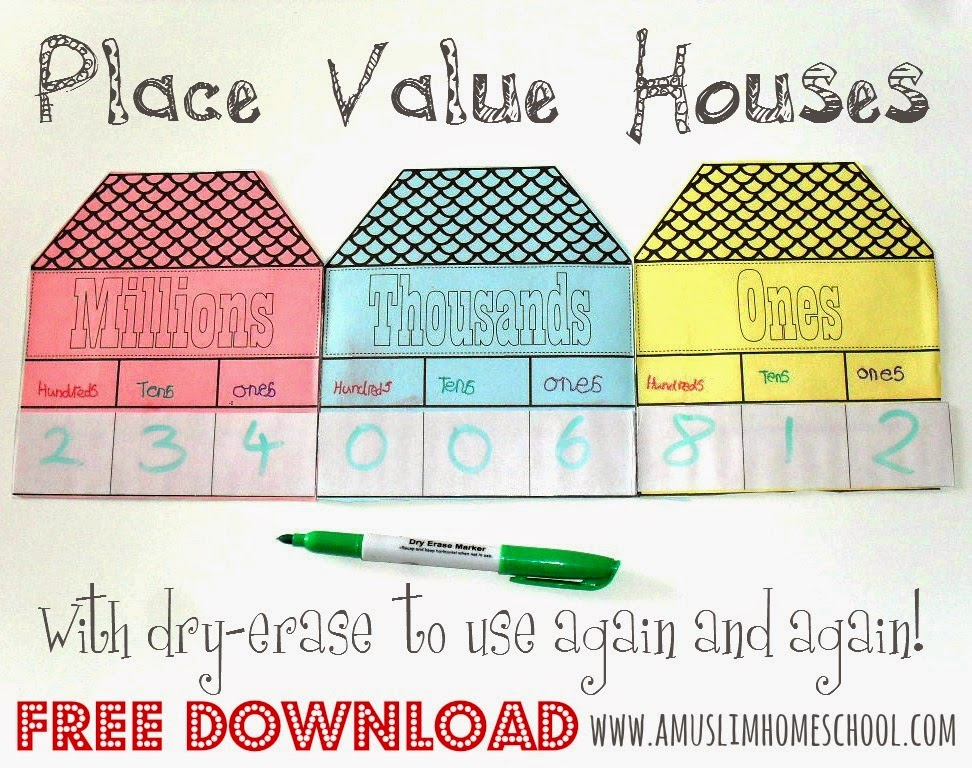 Iman\'s Home-School: Maths Notebooking: Place Value Houses