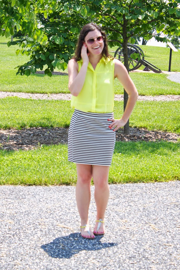 Stripes, neon, madewell skirt, target top, neon yellow