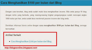 cara membuat artikel terkait dibawah posting blogspot