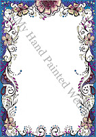 unusual guest book canvas blue oriental flower design Asian inspired