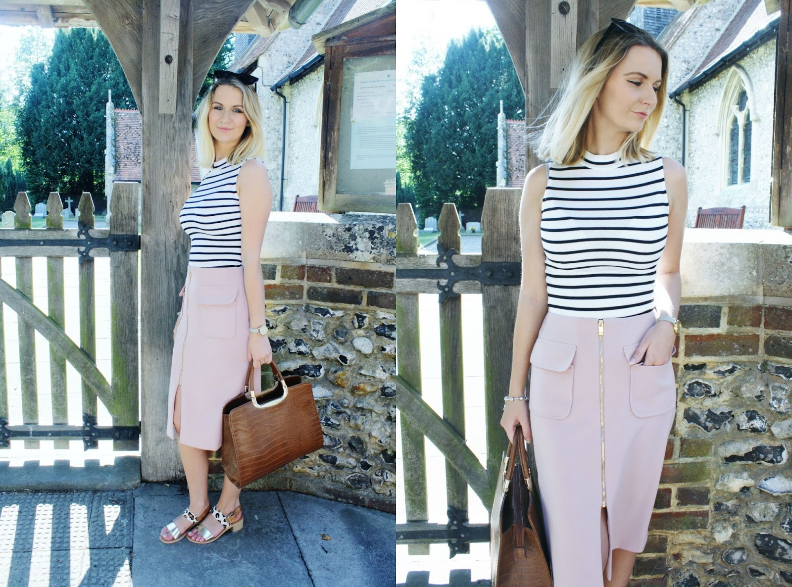 striped top and utility skirt with tan accessories