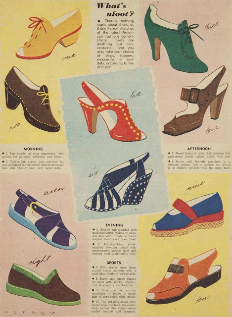 vintage shoe illustrations, 1940s