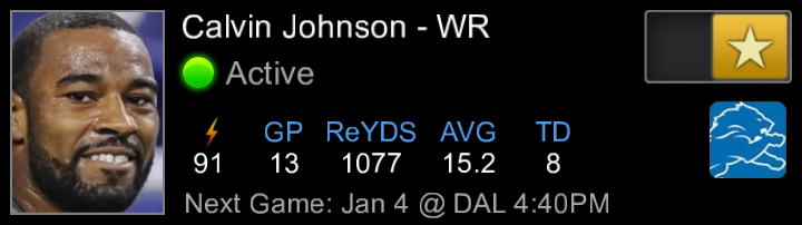 Calvin Johnson (DET) as Active