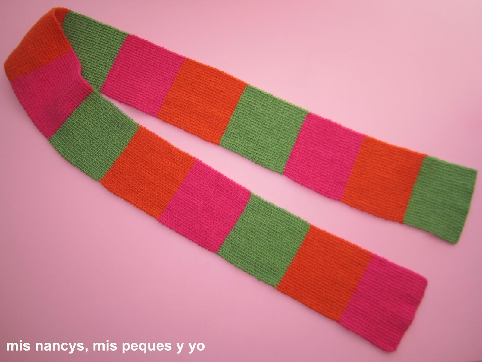 mis nancys, mis peques y yo, tutorial bufanda tricolor niña
