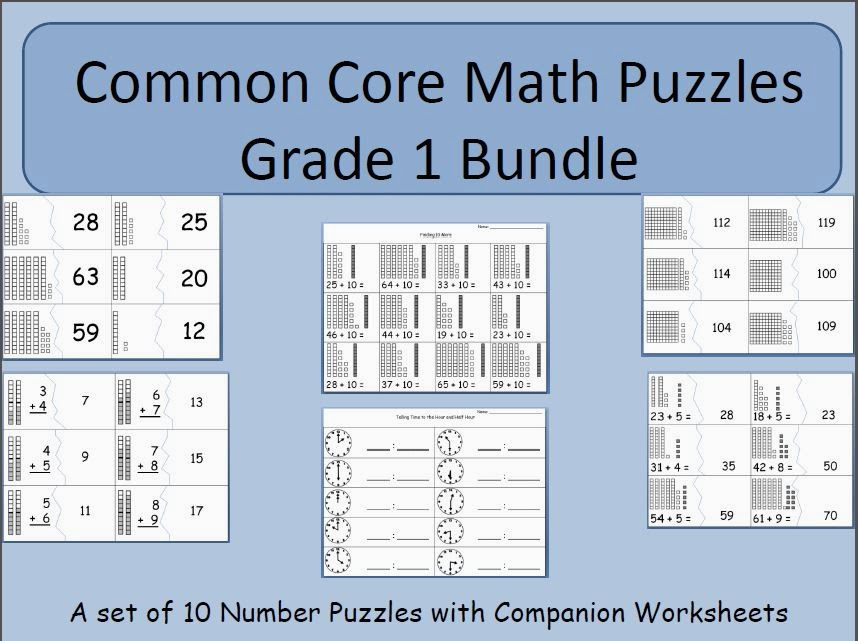 http://www.teacherspayteachers.com/Product/Early-Number-Puzzles-Bundle-Grade-1-Common-Core-Standards-1161786